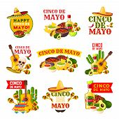 Mexican Cinco De Mayo Fiesta Party Badge. Sombrero Hat, Maracas And Chili Pepper Or Jalapeno, Tequil poster