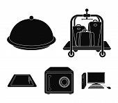 Trolley With Luggage, Safe, Swimming Pool, Clutch.hotel Set Collection Icons In Black Style Vector S poster
