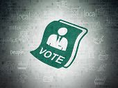 Political Concept: Painted Green Ballot Icon On Digital Data Paper Background With Scheme Of Hand Dr poster