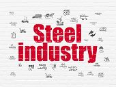 Industry Concept: Painted Red Text Steel Industry On White Brick Wall Background With  Hand Drawn In poster