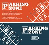 Parking Zone Flyers In Minimalist Style. Top View Parked Cars In Parking Lot, Outdoor Auto Park, Fre poster