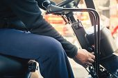 Closeup Man Drives A Reliable Heavy Truck Loader. Heavy Duty Equipment. Tractor Or Roller Paving Veh poster