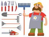 Garden Equipment Flat Set Vector Gardener Character With Rake Illustration Agriculture Farming Tools poster
