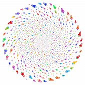 Attractive Space Rocket Swirl Cluster. Psychedelic Cluster Organized With Scatter Space Rocket Objec poster
