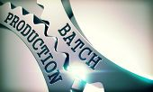 Batch Production - Illustration With Glowing Light Effect. Batch Production On The Mechanism Of Shin poster