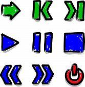 Vector web icons marker colour contour play