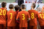Indoor Football Team. Futsal Indoor Soccer Match For Kids. Children Supporting Teammates. Sports Are poster