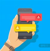 Chat Messages Notification On Smartphone Vector Illustration, Flat Cartoon Sms Bubbles On Mobile Pho poster