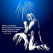 Jesus Christ, The Son Of God Praying In The Garden Of Gethsemane, Symbol Of Christianity Hand Drawn  poster