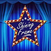 Retro Star Billboard Vector. Blue Theater Curtain. Shining Light Sign Board. Realistic Shine Lamp Fr poster