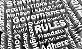 Rules Compliance Governance Regulations Laws Word Collage 3d Illustration poster