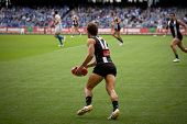 MELBOURNE - APRIL 2:  Collingwood's luke ball in action in their win over North Melbourne  at Etihad