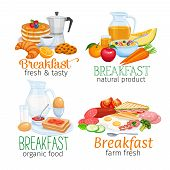 Breakfast Banners Template Food Design Vector. Jug Of Milk, Coffee Pot, Cup, Fruits And Vegetables.  poster