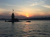 Maidens Tower In Istanbul. Leanders Tower In Istanbul. Stone Tower, Well Known Bosporus Landmark Ist poster
