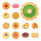 Different Cookie Cakes Top View Sweet Food Tasty Snack Biscuit Sweet Dessert Vector Illustration. Co poster