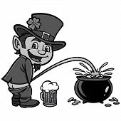 Lucky Leprechaun Illustration - A Vector Cartoon Illustration Of A Leprechaun Having Some Fun. poster