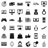 Net Shopping Icons Set. Simple Set Of 36 Net Shopping Vector Icons For Web Isolated On White Backgro poster