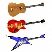 Stock Vector - Acoustic Guitar, Jazz Guitar And Electric Rock Guitar poster