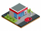 Isometric Building Of Post Office And Post Car. Correspondence Isolated Vector Illustration. poster