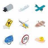 Passenger Motor Transport Icons Set. Isometric Set Of 9 Passenger Motor Transport Vector Icons For W poster