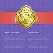 Premium Best Quality 100 Guarantee Golden Label Award Emblem Isolated On Purple Poster With Text. Ve poster