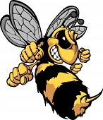 image of wasp sting  - Cartoon Image of a Yellow Jacket Wasp with Fighting Hands - JPG