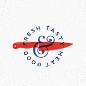 Fresh Tasty Meat Vintage Vector Label, Card, Emblem Or Logo Template. Blue And Red Colors. Steak Sil poster