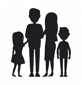 Big Family Consist Of Parents, Son And Daughter, Vector Illustration, Black Silhouettes Of Cute Fami poster