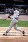 Rochester Red Wings batter Aaron Bates swings at a pitch