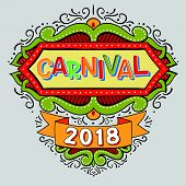 Popular Event Brazil Carnival Title With Colorful Frame. Travel Destination In South America During  poster