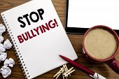 Conceptual Hand Writing Text Caption Inspiration Showing Stop Bullying. Business Concept For Prevent poster
