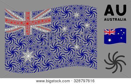poster of Waving Australia Official Flag. Vector Galaxy Design Elements Are Arranged Into Conceptual Australia