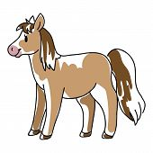 Doodle Inked Horse Childrens Illustration. Hand Drawn Sketchy Equine Pet, Kids Simple Cute Pony Clip poster