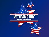 Veterans Day 11Th Of November. Honoring All Who Served. Greeting Card With Ribbon And Stars. Five-po poster