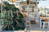 Old Fishing Boat. Fisherman Boats In The Port. Traditional Fishing Boat In The Port Of Cyprus. poster