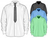 Vector illustration of dress shirt (button-down) with neckties. Color dress shirt. Front view