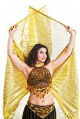 foto of isis  - Beautiful young dancer with golden Isis wings - JPG