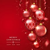 Christmas Background With Shining Ribbons, Confetti And Colorful Balls. New Year And Christmas Card  poster