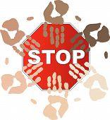 Stop Sign W Ethnic Hands