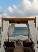 Pavilion For Relax On Mediterranean Beach
