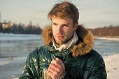 Warm Clothes For Cold Season. Winter Fashion. Warm Sweater. Man Traveling In Winter, Nature. Sexy Ma poster
