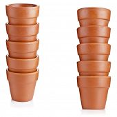 Stack towers  of Clay flower pots isolated on white background