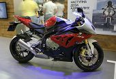 KIEV, UKRAINE - APRIL 29: A new BMW S 1000 RR motorbike is on display at the International Specialized Exhibition,