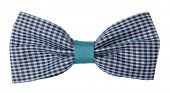Sky blue purple plaid bow tie