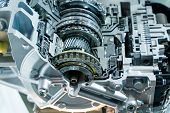 Metallic background of car automotive transmission gearbox poster