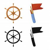 Vector Illustration Of Journey And Seafaring Symbol. Collection Of Journey And Vintage Stock Symbol  poster