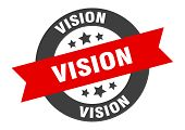 Vision Sign. Vision Black-red Round Ribbon Sticker poster