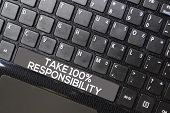 Take 100% Responsibility Isolated On Laptop Keyboard Background poster