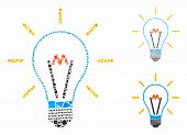 Invent Bulb Mosaic Of Rough Parts In Different Sizes And Color Tints, Based On Invent Bulb Icon. Vec poster