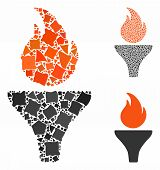 Fire Torch Composition Of Rugged Pieces In Different Sizes And Shades, Based On Fire Torch Icon. Vec poster